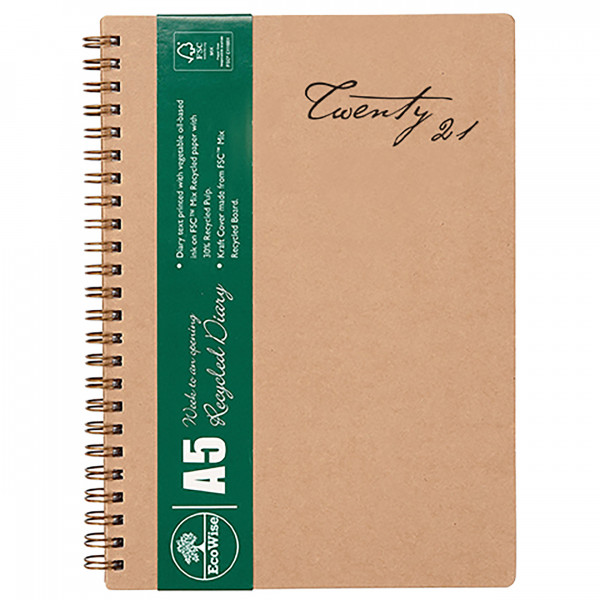 Ecowise Recycled A5 Diary (Week to a View)