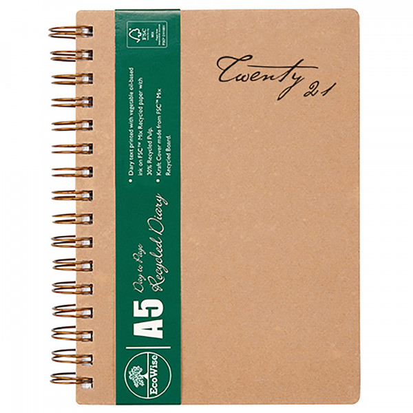 Ecowise Recycled A5 Diary (Day to a Page)