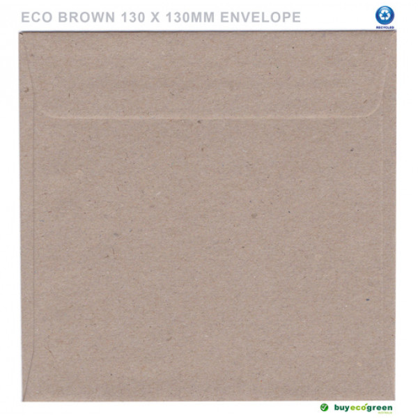 Eco Brown Recycled Envelopes 130mm x 130mm (Box of...