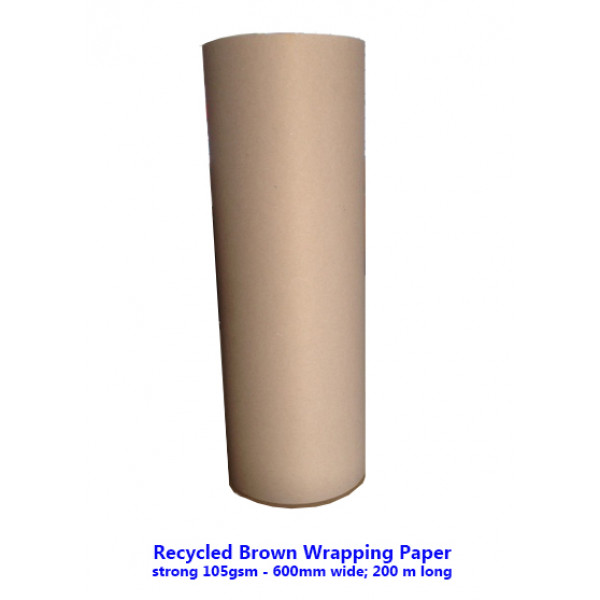 Recycled Brown Wrapping Paper Reel 105gsm, 600mm w...