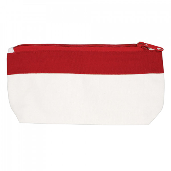 Canvas Pencil Case or Organiser (Red Trim)