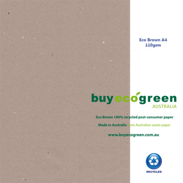 Eco Brown A4 110gsm 100% recycled paper (Box of 4 reams)