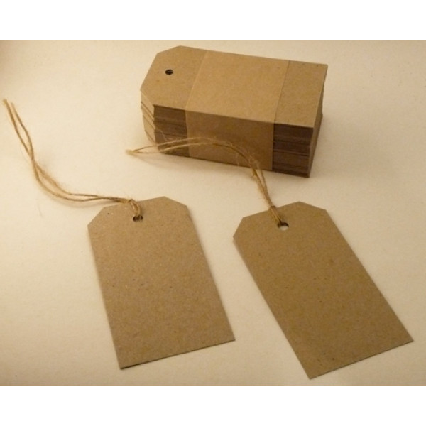 Recycled Swing Tags - Eco Brown 230gsm Duplex Swing Tags 55mm x 90mm (pack of 100).