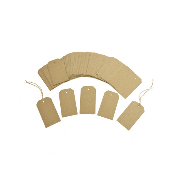 Recycled Swing Tags Eco Brown 230gsm Duplex 35mm x 70mm (pack of 50)