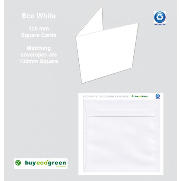 Eco White 300gsm card folded size 120 x 120mm (Pack of 50)