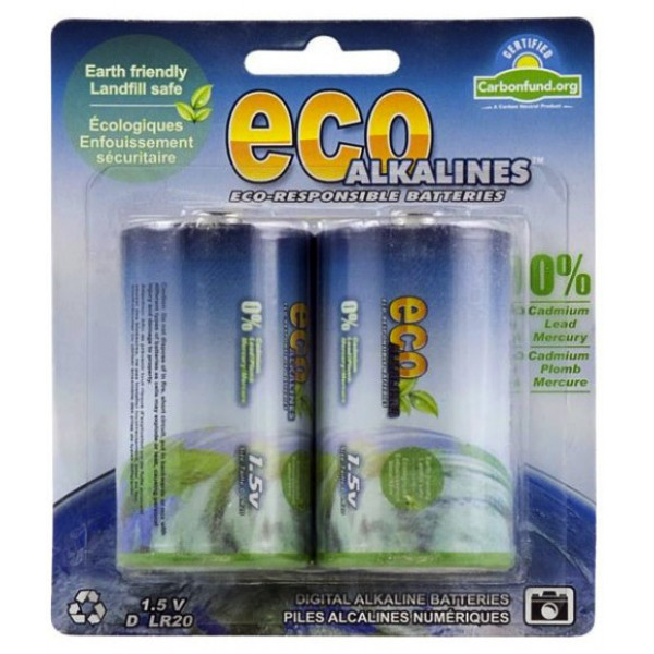 Eco Alkalines® battery D.  Pack of 2.