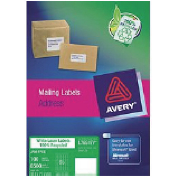 Recycled White Mailing Labels 65 per sheet