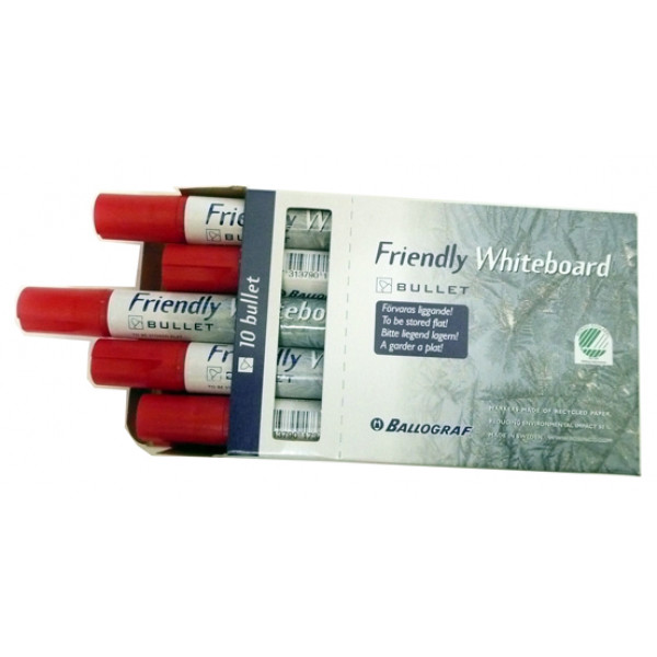 Friendly Whiteboard Markers, RED. Box of 10