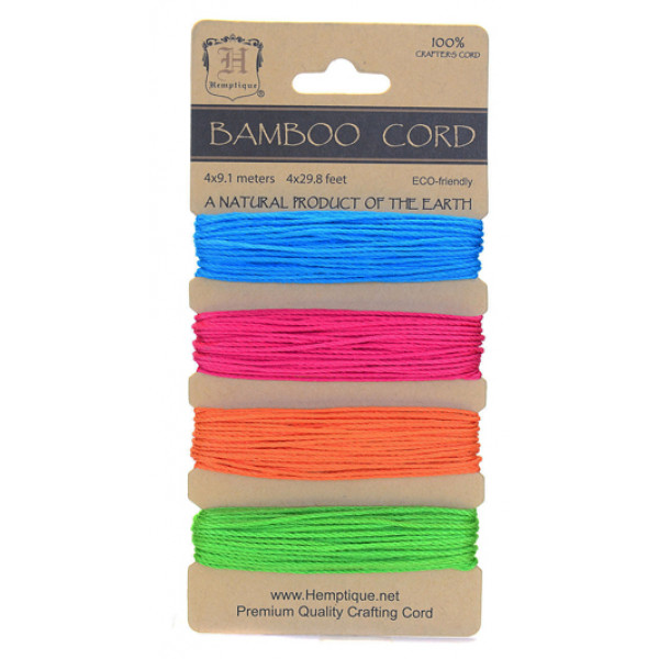 Bamboo Cord - Set of 4 Neon colours