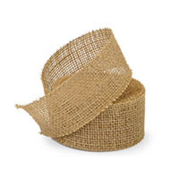 Natural Wide Heavy Jute Ribbon  50mm x 9m