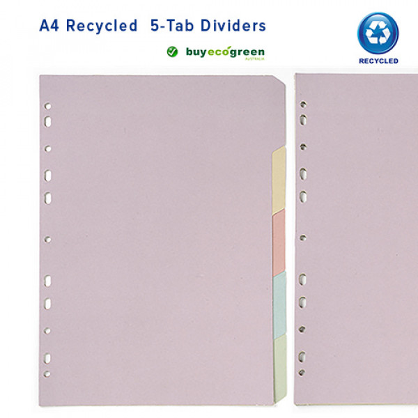 Recycled 5 Tab Dividers A4 - 5 colours