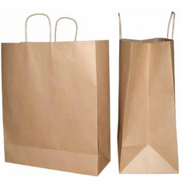 Recycled Brown Paper Boutique Carry Bag with twisted paper handles (Pack of 50)