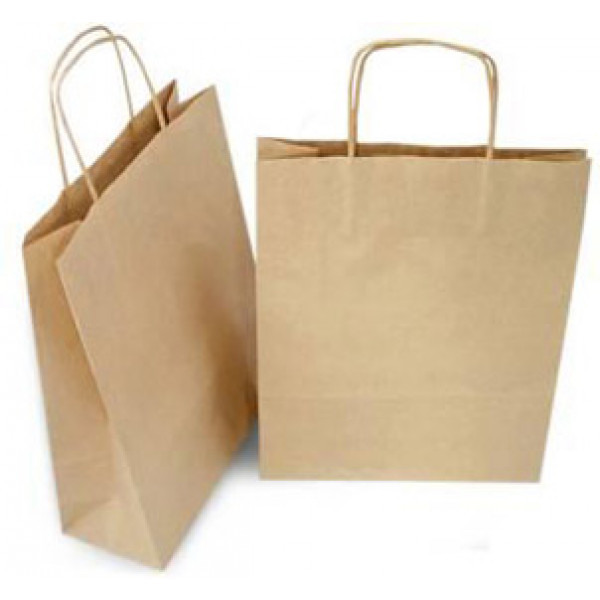 Recycled Brown Paper Medium Carry Bag with twisted paper handles (Pack of 50)