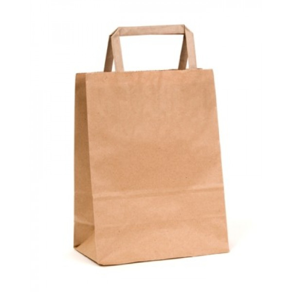 Recycled Brown Paper Small Carry Bag with flat pap...