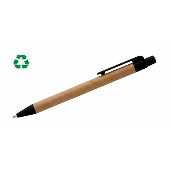 Natural Recycled Paper Click Pen Black Ink & F...
