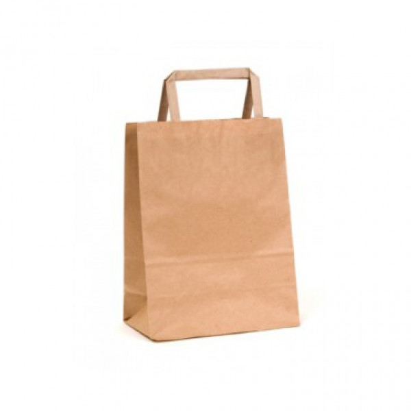 Recycled Brown Paper Mini Carry Bag with flat paper handles (Pack of 50)