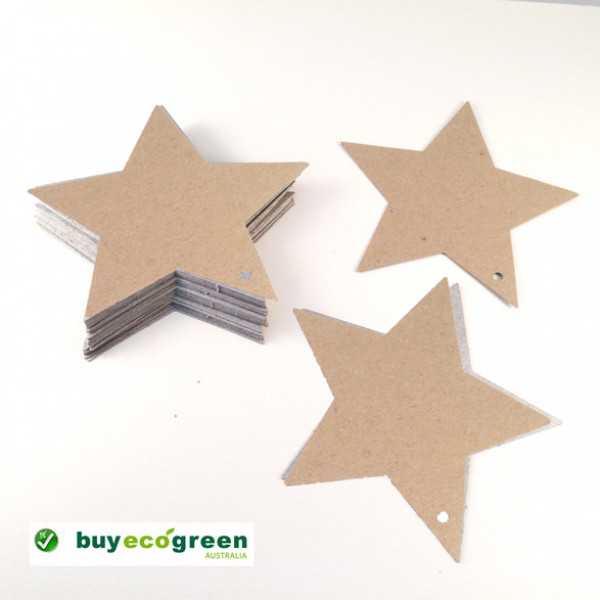 Recycled Star Gift Tags - Natural - 90mm (pack of 25)