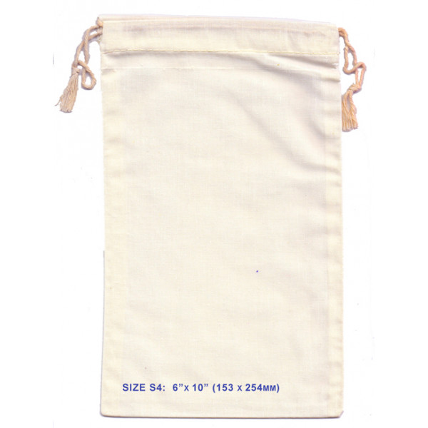 """Cotton Calico Bag 153 x 254mm (6 x 10"""") with double drawstring"""