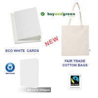 New to the Store - Eco White Cards and Fair Trade Cotton Bags
