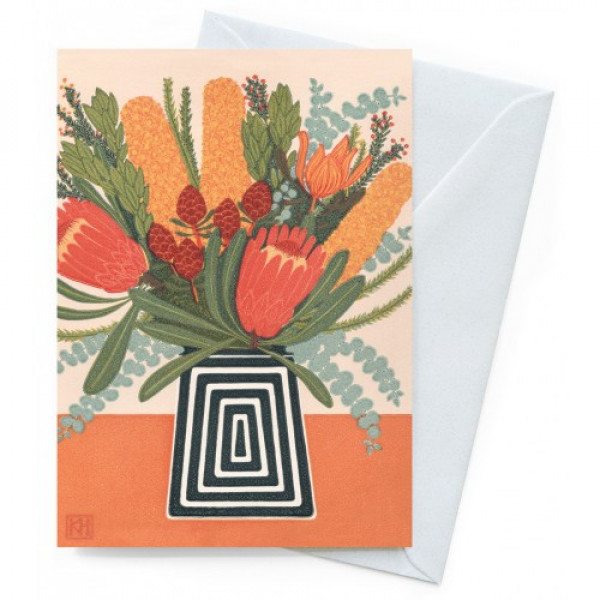 Kate Hudson Printmaker Greeting Card - Native Posy