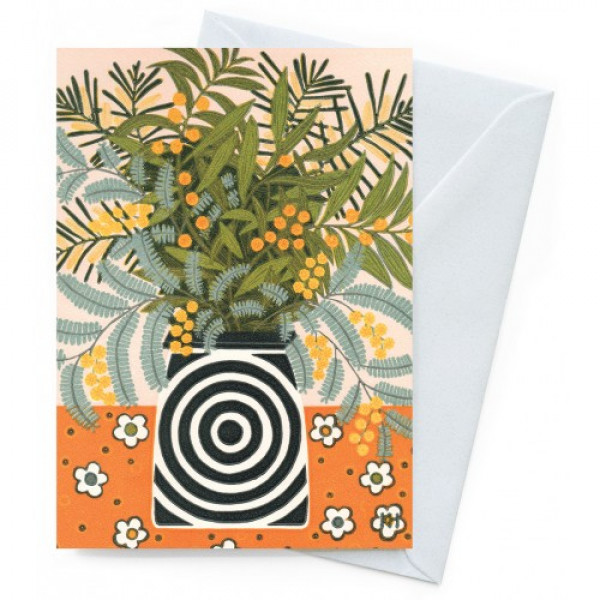 Kate Hudson Printmaker Greeting Card - Wattle Vase