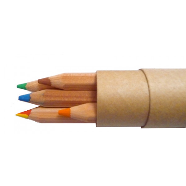 Thick Colour Pencils (5) including a Thick Rainbow Pencil in Recycled Paper Tube