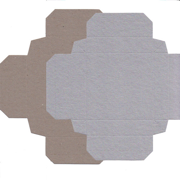 Recycled Gift Box (105mm square) - Silver and Natural Kraft (Pack of 5)