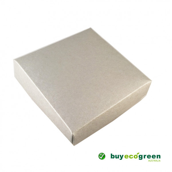 Recycled Gift Box (105mm square) - Silver and Natu...