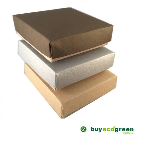 Recycled Gift Box (105mm square) - Chocolate and Natural Kraft (Pack of 5)