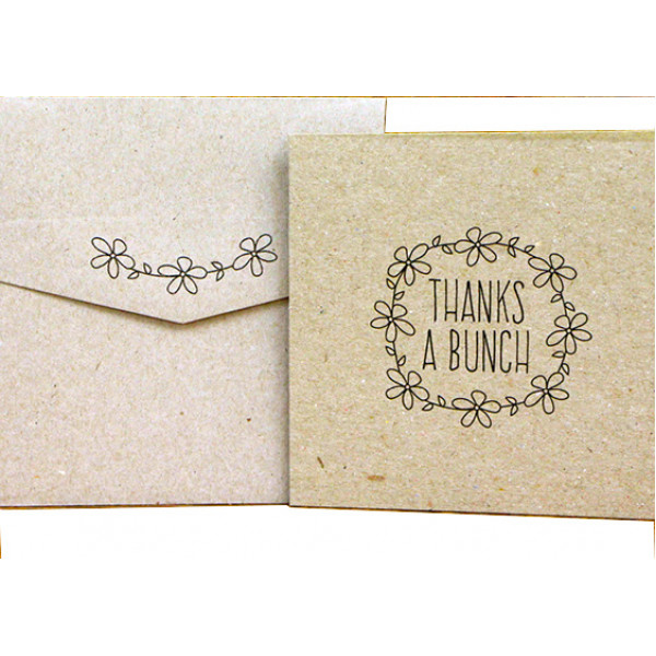 Thanks a Bunch cards - Eco Brown square card and e...